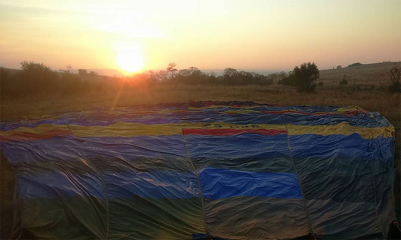 Early morning sunrise before a hot air balloon flight.