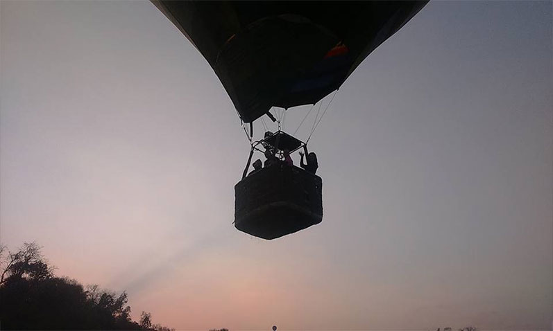 Taking off in the early morning breeze in a hot air balloon.